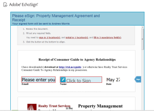 Click this picture to start esign the property management agreement and get started.